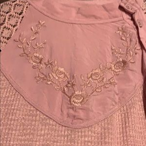 Free People Tops - Free People embroidered button up lace blouse
